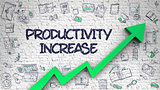 Productivity Increase Drawn on Brick Wall. 3d.