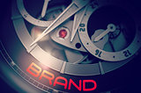 Brand on the Luxury Men Wristwatch Mechanism. 3D.