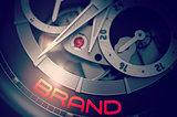 Brand on the Luxury Men Wristwatch Mechanism. 3D.