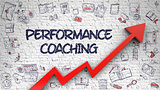 Performance Coaching Drawn on White Brick Wall. 3d.