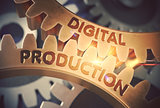 Digital Production on Golden Gears. 3D Illustration.