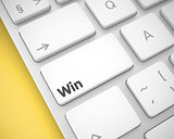 Win - Inscription on the White Keyboard Keypad. 3D.