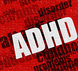 Modern medicine concept: ADHD on the Red Wall .