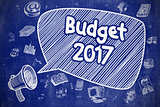 Budget 2017 - Cartoon Illustration on Blue Chalkboard.