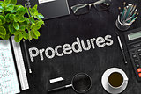 Procedures Handwritten on Black Chalkboard. 3D Rendering.