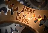 Next Level on Golden Metallic Gears. 3D Illustration.
