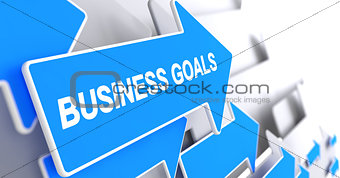 Business Goals - Label on the Blue Pointer. 3D.
