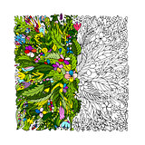 Tropical floral frame for your design