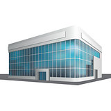 detached multistory office building, business center