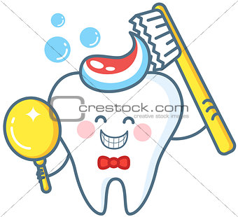 Cartoon Tooth With Toothpaste And Mirror