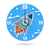 Kids illustration dial plate. Clock face with a rocket.