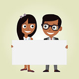 Illustration of a girl and a boy holding an empty banner on a white background. Kids and space frame.