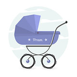 Baby stroller Isolated on white background. Cartoon pram illustrated.
