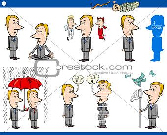 business concept cartoons set