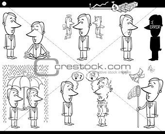 business cartoons set