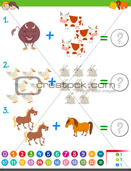 addition maths activity with animals