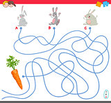 maze game with rabbit characters