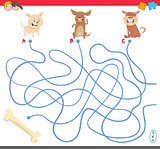 maze game with puppy characters