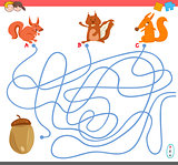 maze game with squirrel characters