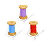 Colored thread reel with needle.