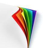 Blank document with rainbow colored curled corner