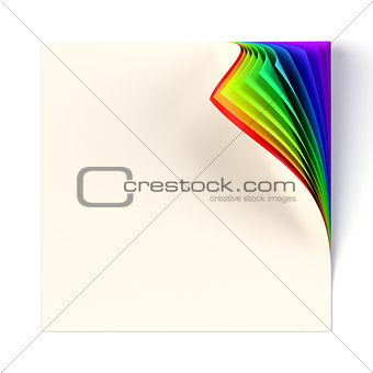 Blank square note page mock up with rainbow colored curled corner