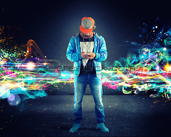Boy listening hiphop music