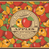 Vintage Red Apple Label On Seamless Pattern