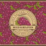Vintage Red Grapes Label On Seamless Pattern