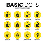Coffee cup flat icons vector set