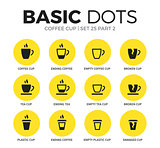 Coffee flat icons vector set