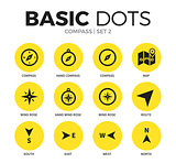 Compass flat icons vector set