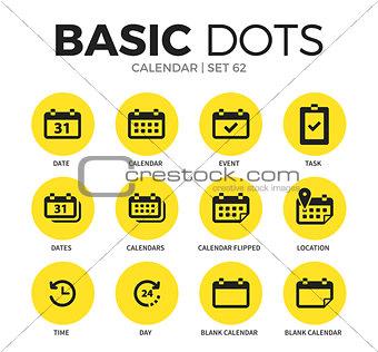 Calendar flat icons vector set