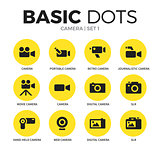 Camera flat icons vector set