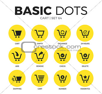 Cart flat icons vector set