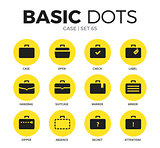 Case flat icons vector set