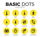 Chess flat icons vector set