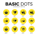Checkout flat icons vector set