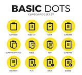Clipboard flat icons vector set