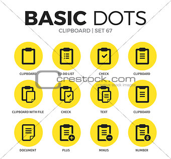 Clipboard flat icons vector set