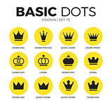 Crown flat icons vector set