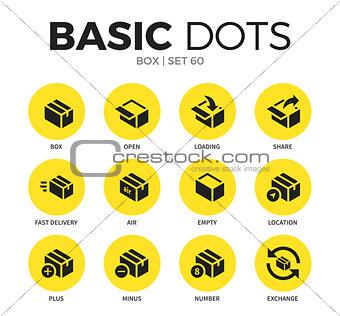 Box flat icons vector set