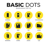Bookmark flat icons vector set
