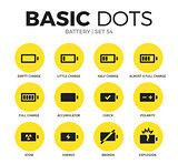 Battery flat icons vector set