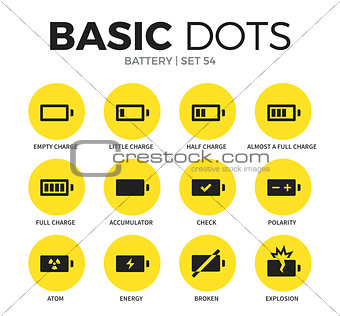 Battery flat icons vector set