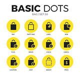 Bag flat icons vector set