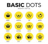 Basket flat icons vector set