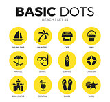 Beach flat icons vector set