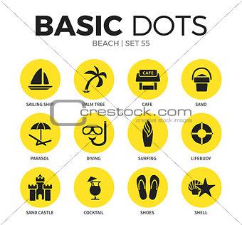 Beach flat icons vector set