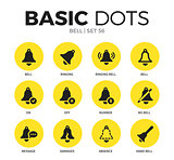 Bell flat icons vector set